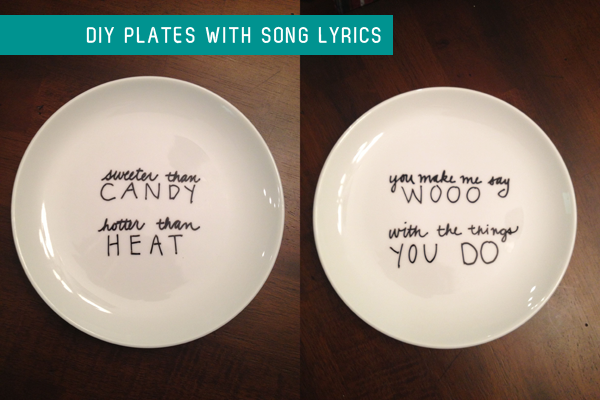 diy dessert plates with song lyrics