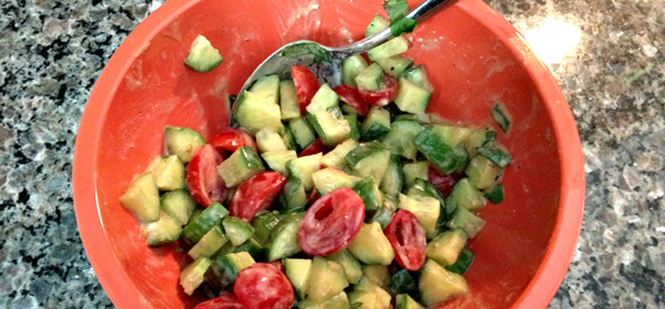 cheesy balsamic cucumber tomato salad