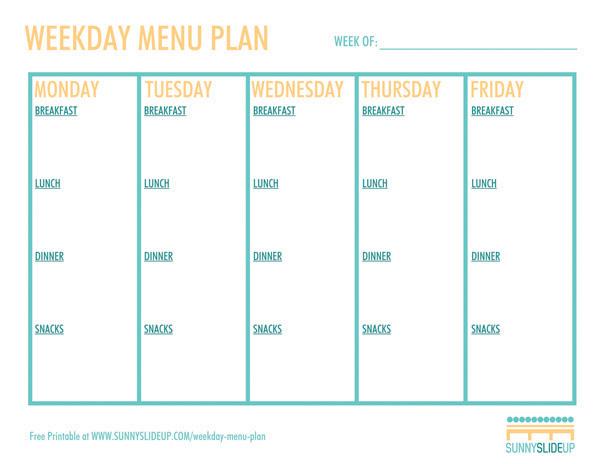 Weekday Menu Plan Sunny Slide Up