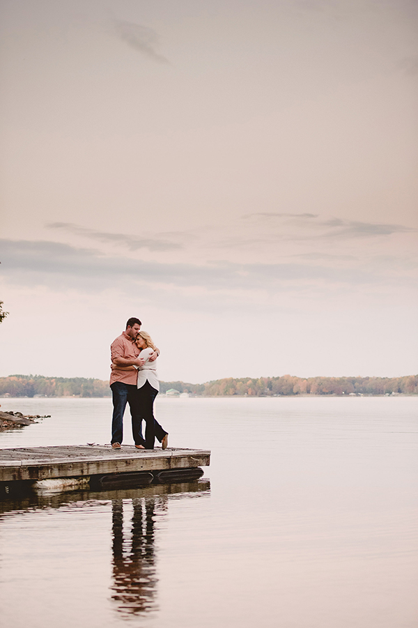 lake sunset engagement photo