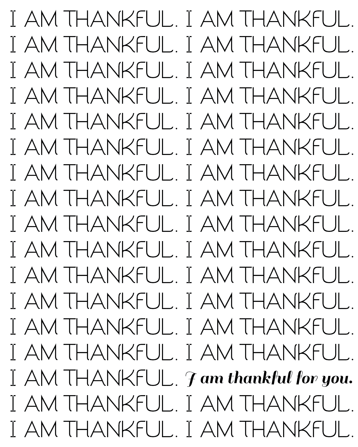 i am thankful free printable