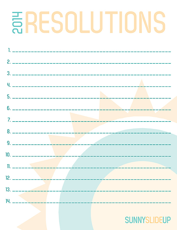2014 Resolutions Free Printable