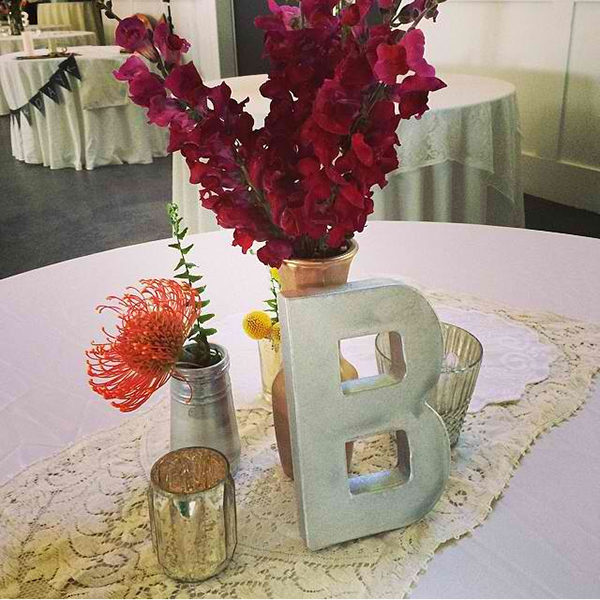 initial wedding decor