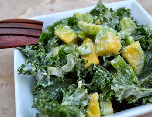 kale and avocado salad with creamy cilantro dressing – alivia jane