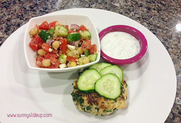 greek turkey burgers and cucumber salad