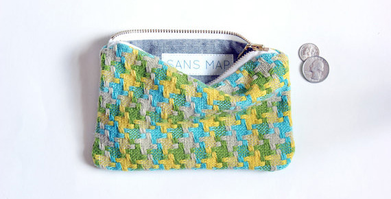 Sans Map Coin Purse made with vintage fabrics