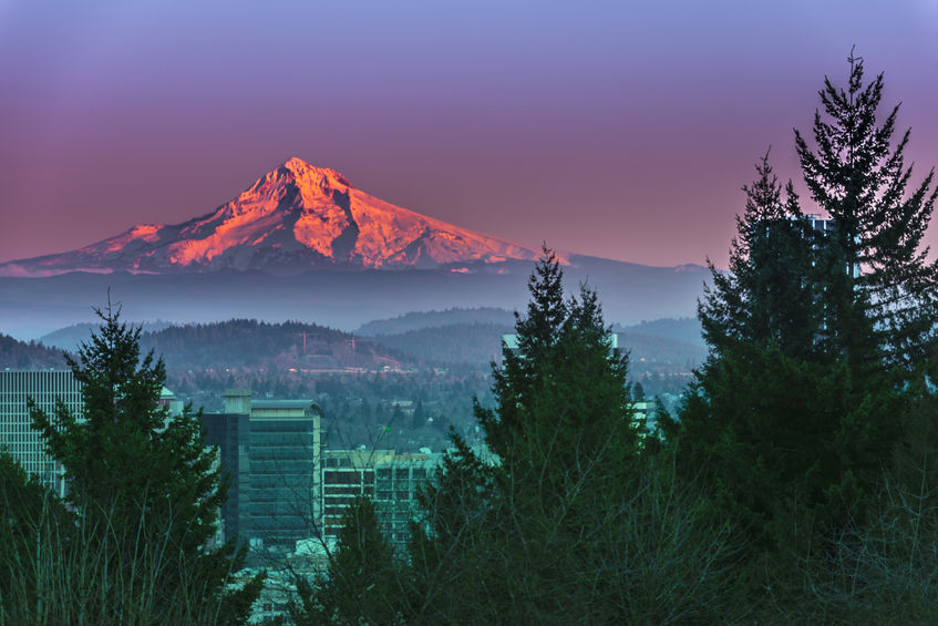 Portland Orgeon at Sunset over Mt Hood